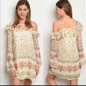 NWT cream floral off shoulder dress